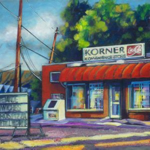 """An Acrylic Painting named """"Stopping For Coffee"""" by Canadian artist, Theresa Eisenbarth"""