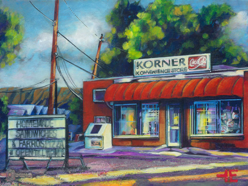 "An Acrylic Painting named ""Stopping For Coffee"" by Canadian artist, Theresa Eisenbarth"