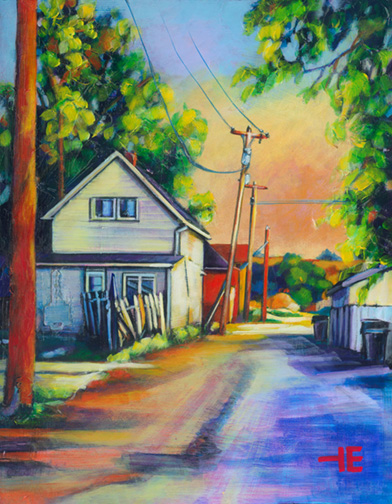 "An Acrylic Painting named ""Taking A Short Cut"" by Canadian artist, Theresa Eisenbarth"