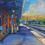 "An Acrylic Painting named ""Taking The Train To Lethbridge"" by Canadian artist, Theresa Eisenbarth"