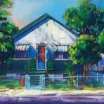 "An Acrylic Painting named ""Time For Tomatoes - Mrs. Iannattones House"" by Canadian artist, Theresa Eisenbarth"