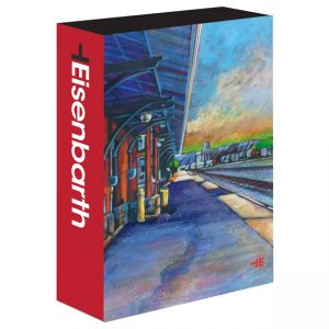An image of a puzzle box of a train station by Canadian artist, Theresa Eisenbarth