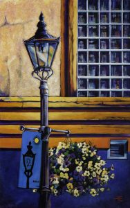 A Painting of a gaslight on a street in Medicine Hat by Canadian artist Theresa Eisenbarth