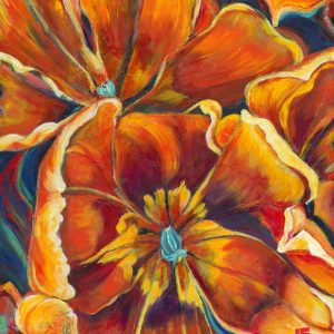 an acrylic Painting of a tulip bunch by Canadian artist, Theresa Eisenbarth