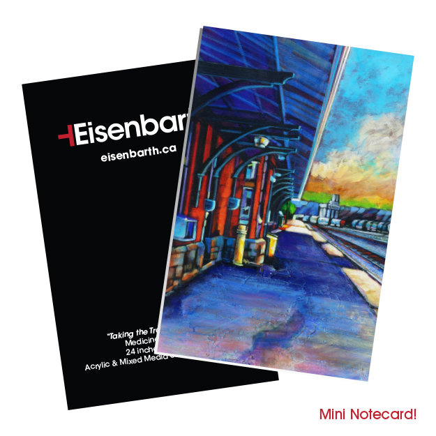 Mini notecards of the a train station platform in Medicine Hat for sale by Canadian artist, Theresa Eisenbarth