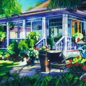 An acrylic panting of a backyard by canadian artist, Theresa Eisenbarth