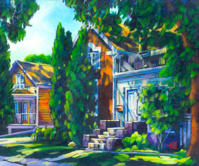An acrylic painting by artist Theresa Eisenbarth of the Cote house on the flats