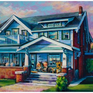 An acrylic painting of the Cote house in Medicine Hat by artist Theresa Eisenbarth