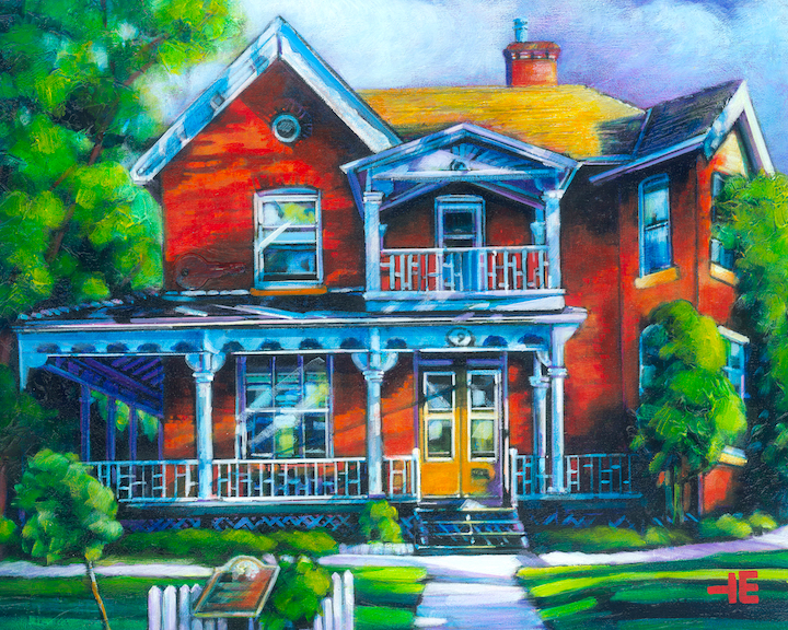 An image of an acrylic painting by artist Theresa Eisenbarth of a house in Medicine Hat