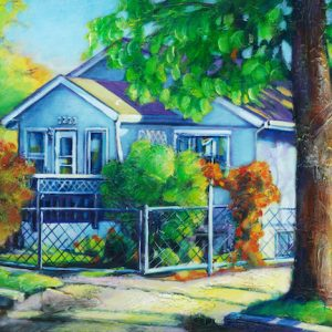 "An Acrylic Painting of a house on the flats in Medicine Hat called ""a gathering place"" by artist Theresa Eisenbarth"