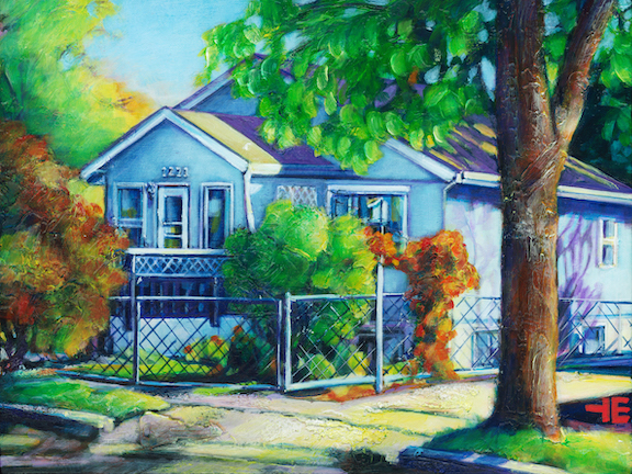 """An Acrylic Painting of a house on the flats in Medicine Hat called """"a gathering place"""" by artist Theresa Eisenbarth"""