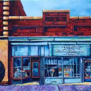 An image of an acrylic painting by artist Theresa Eisenbarth of Levinsons Music Store in Medicine Hat