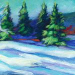 """An Acrylic Painting of a snowy scene named """"A Spruce Coulee Hike"""" by Canadian artist, Theresa Eisenbarth"""