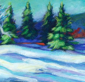 "An Acrylic Painting of a snowy scene named ""A Spruce Coulee Hike"" by Canadian artist, Theresa Eisenbarth"