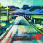 """An Acrylic Painting of a road named """"A Typical Prairie Road"""" by Canadian artist, Theresa Eisenbarth"""