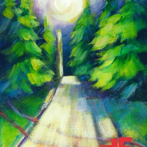 """An Acrylic Painting of a street named """"A Village Moonlight """" by Canadian artist, Theresa Eisenbarth"""