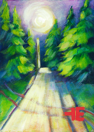 "An Acrylic Painting of a street named ""A Village Moonlight "" by Canadian artist, Theresa Eisenbarth"