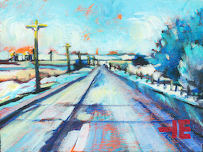 "An acrylic painting of a teal prairie road inn winter called "" A Dogs Walk"" by Canadian artist Theresa Eisenbarth"