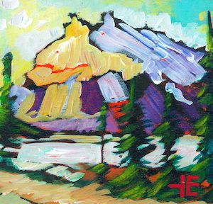 "An acrylic painting of a mountain called ""A Fine Walk"" by Canadian artist Theresa Eisenbarth"