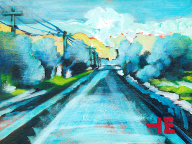 An acrylic painting of a highway in the middle of winter by Canadian artist Theresa Eisenbarth