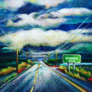 "An acrylic Painting of a highway with a sign called ""Be Inspired"" by Canadian artist Theresa Eisenbarth"