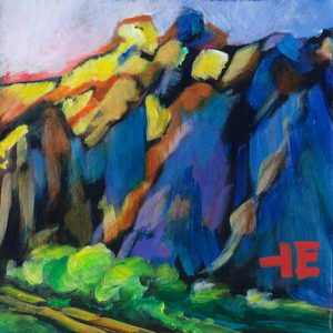 "An Acrylic Painting of a mountain named ""Blue Side of the Mountain"" by Canadian artist, Theresa Eisenbarth"