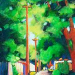 """An Acrylic Painting of a back-alley named """"Come For A walk"""" by Canadian artist, Theresa Eisenbarth"""