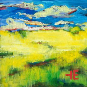 "An Acrylic Painting of a vibrant prairie named ""Forever Yellow"" by Canadian artist, Theresa Eisenbarth"