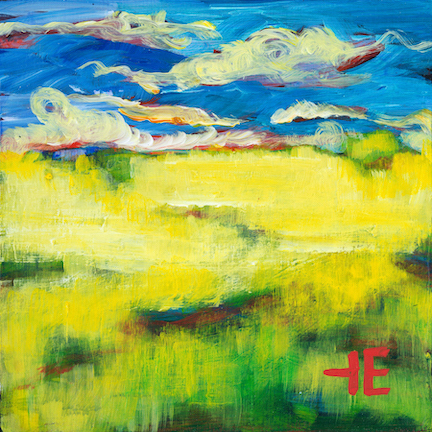 """An Acrylic Painting of a vibrant prairie named """"Forever Yellow"""" by Canadian artist, Theresa Eisenbarth"""