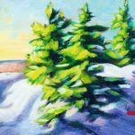 """An Acrylic Painting of three fir trees named """"Just Waiting"""" by Canadian artist, Theresa Eisenbarth"""