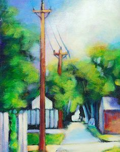 """An Acrylic Painting of a back alley in summer named """"On My Way Home-Back Alley"""" by Canadian artist, Theresa Eisenbarth"""