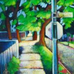 """An Acrylic Painting of a street named """" On a Street Where You Live """" by Canadian artist, Theresa Eisenbarth"""