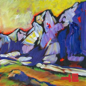 "An Acrylic Painting of a mountain named ""Quietness in the Wild"" by Canadian artist, Theresa Eisenbarth"