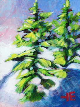 An acrylic Painting of Two Fir trees in the snow by Canadian artist Theresa Eisenbarth