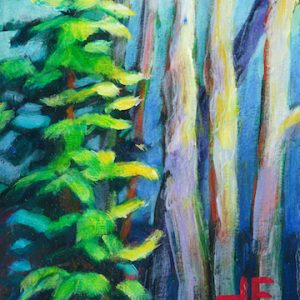 "An Acrylic Painting of a fir trees named ""Speak to Me"" by Canadian artist, Theresa Eisenbarth"