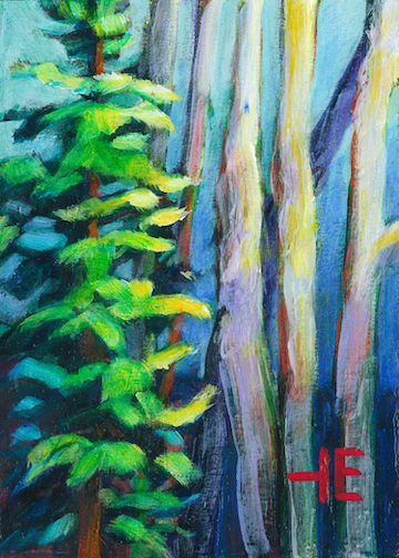 """An Acrylic Painting of a fir trees named """"Speak to Me"""" by Canadian artist, Theresa Eisenbarth"""