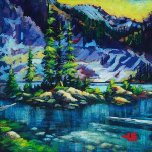 "an image of an acrylic Painting of mountains in alberta mountain called ""a place to swim"" by Canadian artist, theresa eisenbarth"