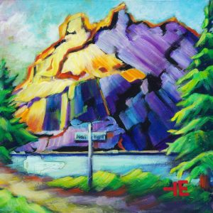 "an image of an acrylic Painting of rundle mountain in alberta mountain called ""turn next right"" by Canadian artist, theresa eisenbarth"