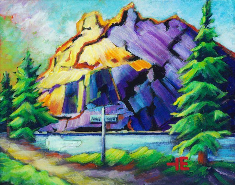 """an image of an acrylic Painting of rundle mountain in alberta mountain called """"turn next right"""" by Canadian artist, theresa eisenbarth"""