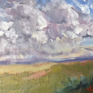 an oil painting by artist theresa eisenbarth of purple clouds in the sky called A Purple Forecast