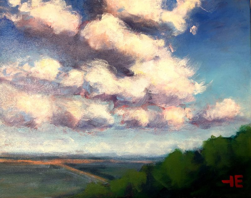 An Acrylic painting of clouds on the prairies called, Oh Let Me Dream by artist Theresa eisenbarth