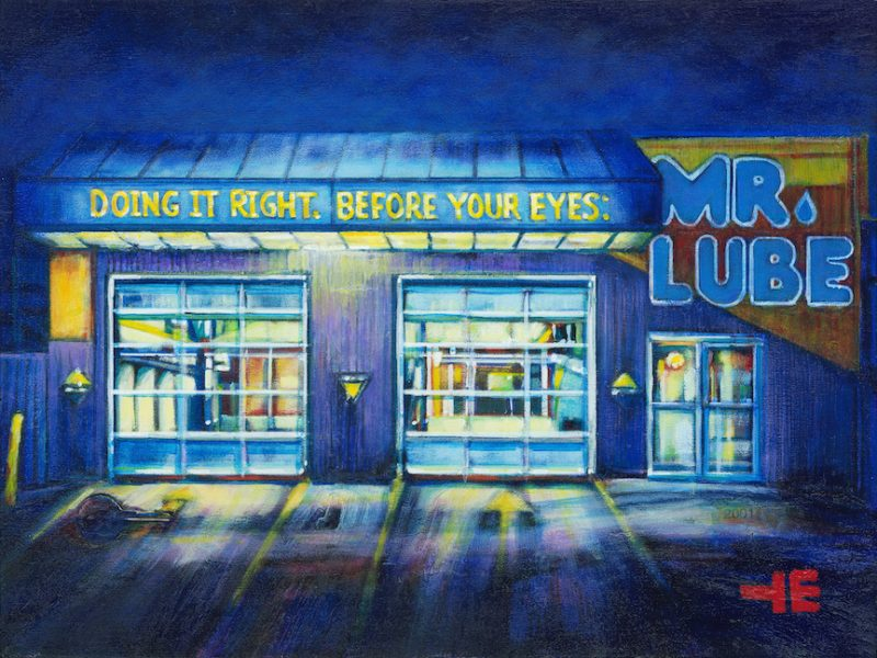 an acrylic painting of Mr. Lube in Medicine Hat by artist Theresa Eisenbarth