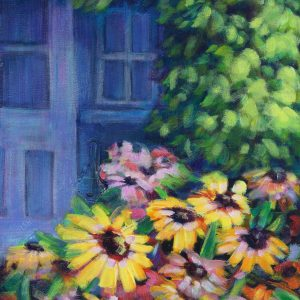 an image of an acrylic Painting of yellow flowers in a garden in Medicine Hat by artist Theresa Eisenbarth