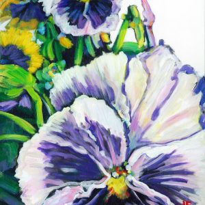 an acrylic Painting of a purple pansy by artist Theres Eisenbarth