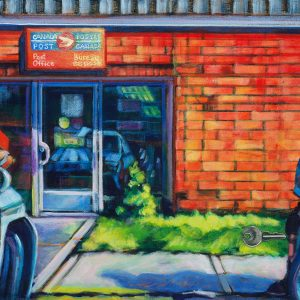 an acrylic Painting of two people apart during Covid-19 by artist, Theresa Eisenbarth