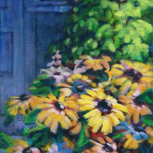 An image of an acrylic Painting of yellow flowers i a garden in Medicne Hat by artist Theresa Eisenbarth