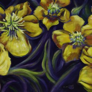an acrylic Painting of buttercup flowers by artist Theresa Eisenbarth