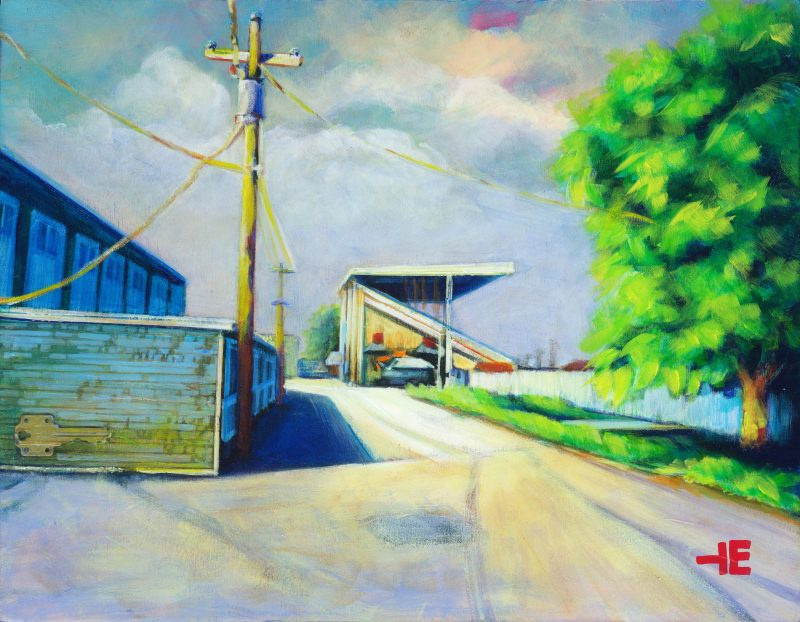 An Acrylic Painting of the Medicine Hat Exhibition Grounds during Covid-19 by artist Theresa Eisenbarth