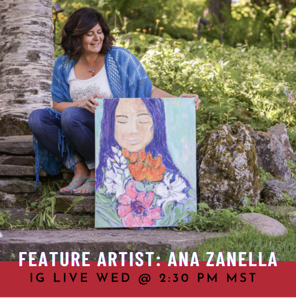 An image of Calgary artist, Ana Zanella for IG Inside teh Artist Interview Series on IG